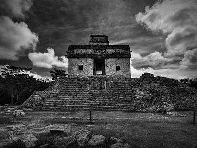 Merida Photograph - Dzibilchaltun - Temple Of The Seven Dolls 001 Bw by Lance Vaughn