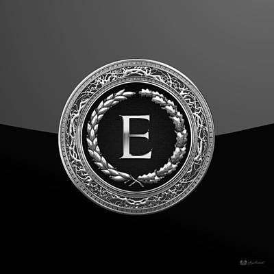 Digital Art - E - Black Silver Vintage Monogram On Modern Glossy Black by Serge Averbukh