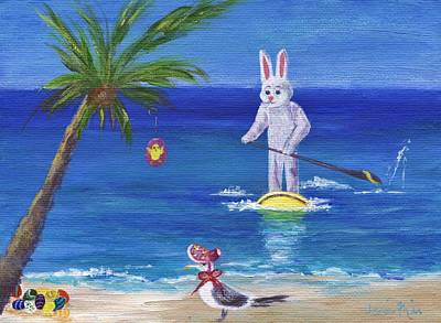 Painting - E Bunny At The Beach by Jamie Frier