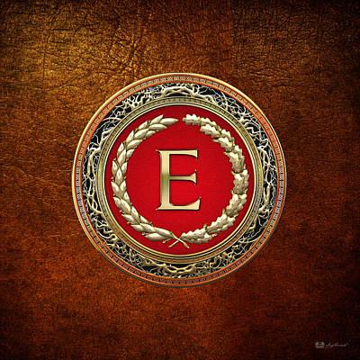 Digital Art - E - Gold Vintage Monogram On Brown Leather by Serge Averbukh