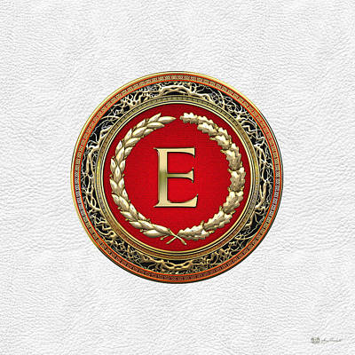 Digital Art - E - Gold Vintage Monogram On White Leather by Serge Averbukh