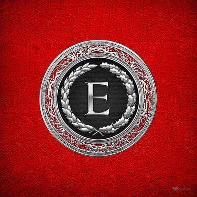 Digital Art - E - Silver Vintage Monogram On Red Leather by Serge Averbukh
