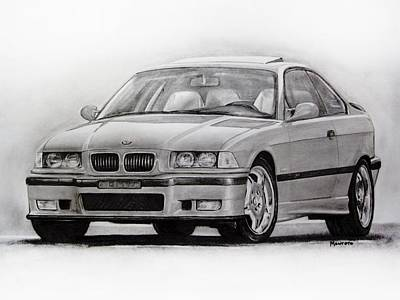 Sport Car Drawing - E36 M3 by Indaguis Montoto