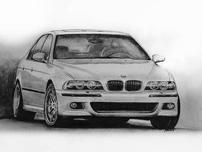 Sport Car Drawing - E39 M5 by Indaguis Montoto