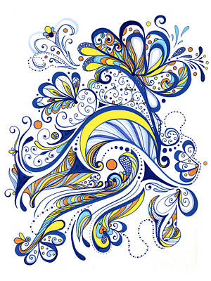 Swirly Drawing - Each Day Is A Celebration by Peggy Markham