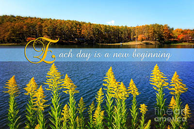 Each Day Is A New Beginning Lake With Goldenrod Art Print by Beverly Claire Kaiya