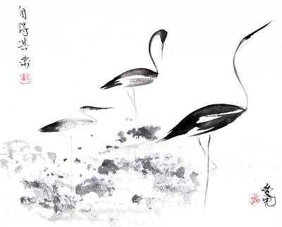 Crane Painting - Each Finds Joy In His Own Way by Oiyee At Oystudio