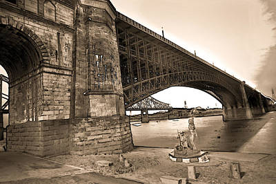 Photograph - Eads Bridge Sepia by David Coblitz