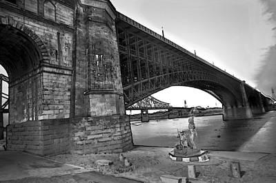 Photograph - Eads Bridge With The Captain Returns Statue Bw by David Coblitz
