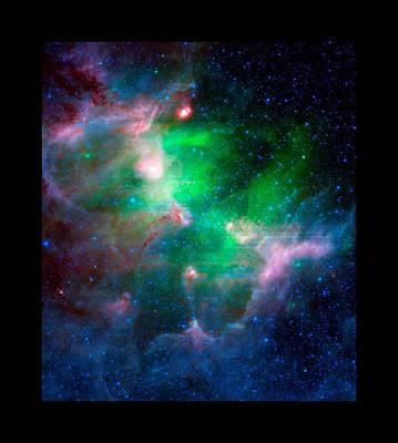 Observer Mixed Media - Eagla Nebula Infrared View Medium Black Border by L Brown