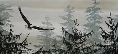 Eagle And Cedars Art Print