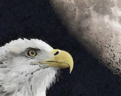Digital Art - Eagle And Moon Painterly by Ernie Echols