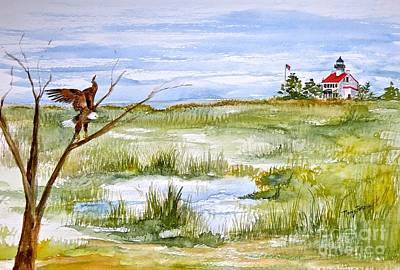 Painting - An Eagle At East Point  by Nancy Patterson