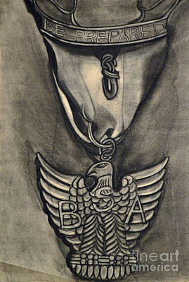 Drawing - Eagle Badge by Cecilia Stevens