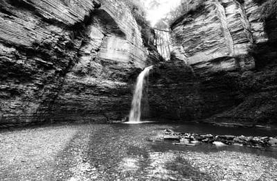 Eagle Cliff Falls In Black And White Art Print by Trina  Ansel