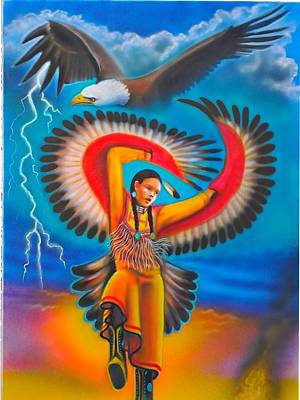 American Eagle Painting - Eagle Dancer by Amatzia Baruchi