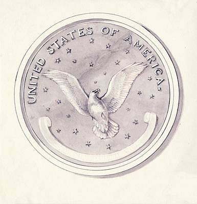 Eagle Design For Us Coin Art Print by American Philosophical Society