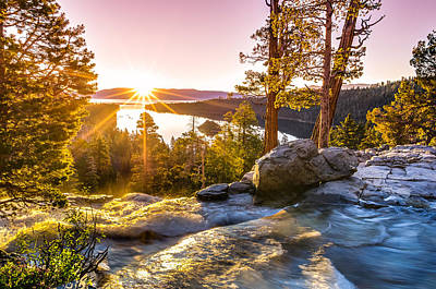 Sunburst Photograph - Eagle Falls Emerald Bay Lake Tahoe Sunrise First Light by Scott McGuire