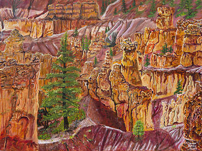 Eagle Cliff Painting - Eagle Flying In Bryce Canyon by Ornon Shaw
