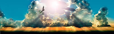 Eagle Flying In The Sky With Clouds Art Print by Panoramic Images