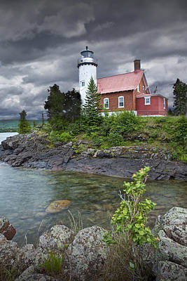 Photograph - Eagle Harbor Lighthouse In Michigan No. 4572 by Randall Nyhof