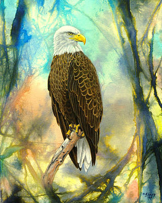 Eagle In Abstract Art Print by Paul Krapf
