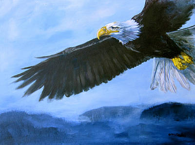 Eagle Painting - Eagle In Flight by Eve McCauley