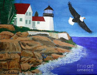 Painting - Eagle Isle Light In Casco Bay Maine by Bill Hubbard