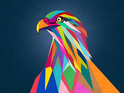 Geometric Digital Art Painting - Eagle by Mark Ashkenazi