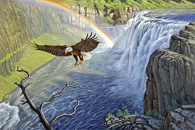 Eagle-mesa Falls Art Print by Paul Krapf