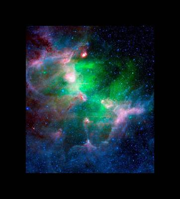 Eagle Nebula Infrared View Large Black Border Art Print by L Brown