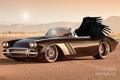 Birds Mixed Media Rights Managed Images - Eagle on Chevrolette Corvette Royalty-Free Image by Drawspots Illustrations