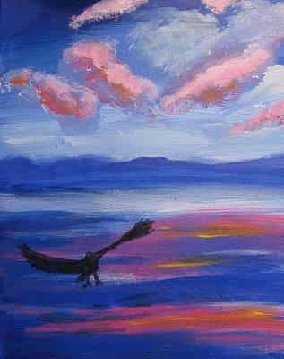 Eagle  On Lake Print by Diana Riukas