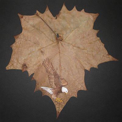Eagle On Leaf Art Print by Jules Wagner