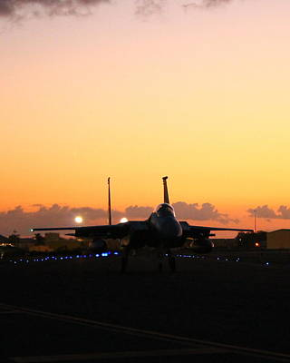 F15 Wall Art - Photograph - Eagle On The Runway At Twilight by Saya Studios