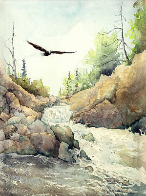 Painting - Eagle Over Dave's Falls by Ken Marsden