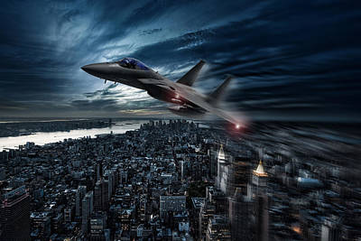 F-15 Digital Art - Eagle Over New York by Peter Chilelli