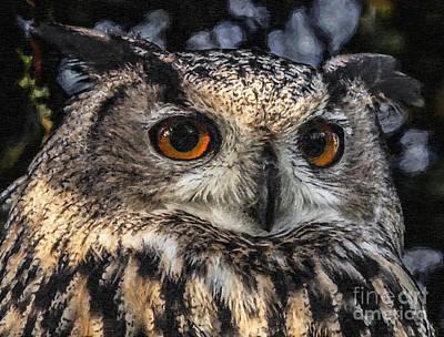 Eagle Digital Art - Eagle Owl by Liz Leyden