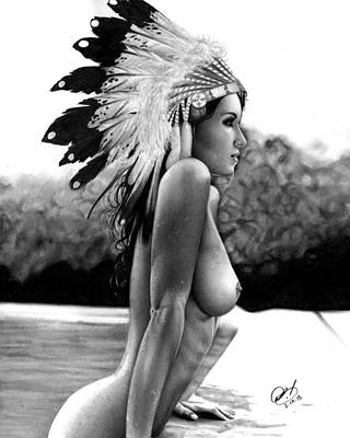 Native Women Drawing - Eagle by Pete Tapang
