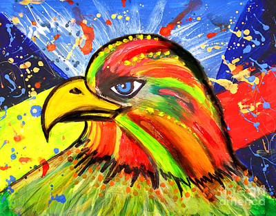 Julia Child Painting - Eagle Pop Art by Julia Fine Art And Photography