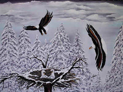 Rapture Painting - Eagle Family Majestry by Adele Moscaritolo