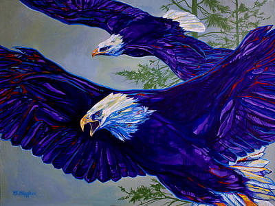 Soaring Painting - Eagles  by Derrick Higgins