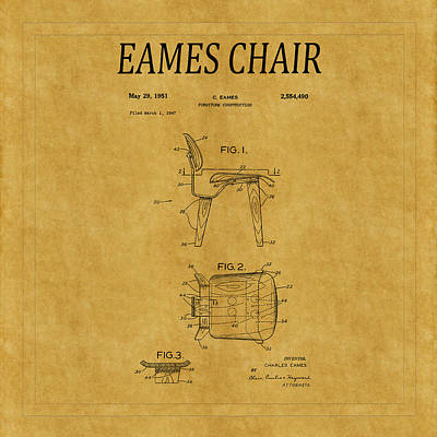 Eames Photograph - Eames Chair Patent 1 by Andrew Fare