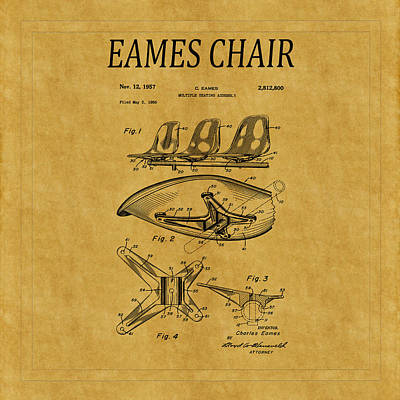 Eames Photograph - Eames Chair Patent 3 by Andrew Fare