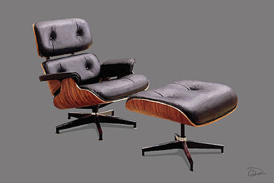 Eames Design Digital Art - Eames Lounge Chair And Ottoman by Charley Pallos