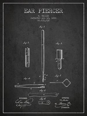 Ear Piercer Patent From 1880 - Charcoal Art Print