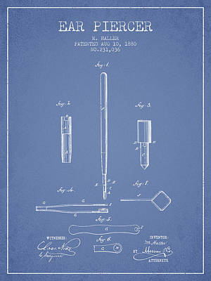 Ear Piercer Patent From 1880 - Light Blue Art Print