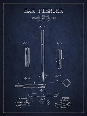Ear Piercer Patent From 1880 - Navy Blue Art Print