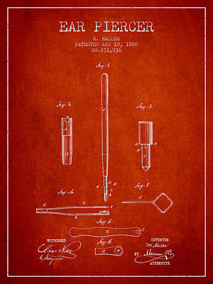 Ear Piercer Patent From 1880 - Red Art Print