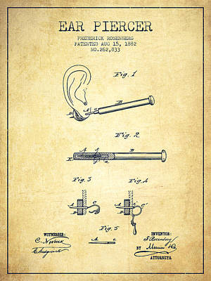 Ear Piercer Patent From 1882 - Vintage Art Print